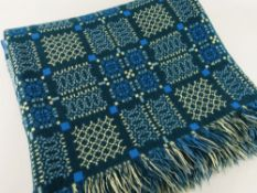 VINTAGE WELSH TAPESTRY BLANKET of geometric design, racing-green ground with yellow and blue detail,