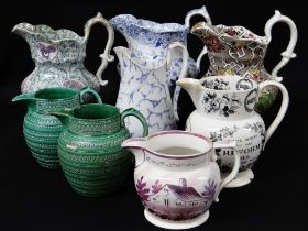 GROUP OF EIGHT WELSH POTTERY JUGS FROM SIR LESLIE JOSEPH'S COLLECTION including Reform jug (A/F),