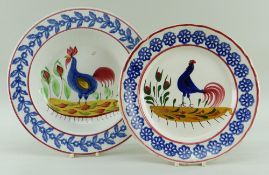LLANELLY COCKEREL PLATES, blue cockerel and flowers to the centre, 22cms diam. and a blue bordered