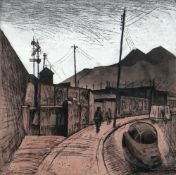 GEORGE CHAPMAN limited edition (4/25) etching and aquatint - south Wales valleys street scene with