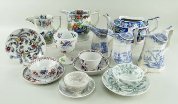 WELSH POTTERY GROUP trio of Llanelly jugs, Chinoiserie teapot, BB&I 'Opaque China' jug and vase,