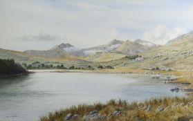 MAX A.S HAMBLEN watercolour - expansive scene of Llyn Mymbyr and the Snowdon horseshoe at Llanberis,