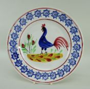LLANELLY POTTERY COCKEREL PLATE continuous sponged star patterned border, 25cms diam Provenance: