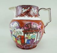 A RARE EARLY SWANSEA CAMBRIAN JUG TRANSFER DECORATED IN A MANDARIN PATTERN having opposing