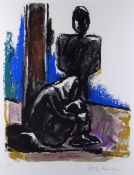 JOSEF HERMAN OBE RA limited edition (44/150) colour lithograph - entitled verso on Oriel Kooywood