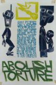 PAUL PETER PIECH four colour lithograph - 'Abolish Torture' with typography '..many people die under