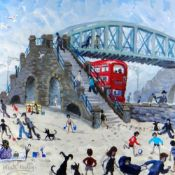 NICK HOLLY limited edition (36/50) print - The Slip Bridge, Swansea, with many figures and bus,