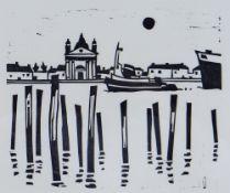 SIR KYFFIN WILLIAMS RA original linocut - entitled 'Venice', 26 x 31 cms Provenance: private