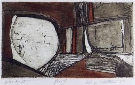 ISLWYN WATKINS artist's proof coloured etching and aquatint - abstract, entitled 'Where It's At',