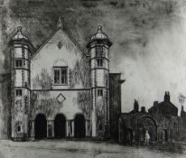 GEORGE CHAPMAN rare etching (one of six) - view of Uppingham School, Rutland, circa 1962, signed