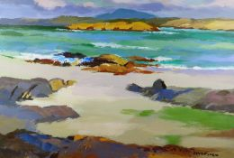 DONALD MCINTYRE acrylic - expansive rocky coastalscape, signed in full, with original title verso '