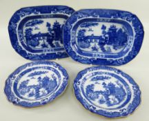 A SWANSEA POTTERY LONGBRIDGE TRANSFER PART SERVICE circa 1800-1810, in the English 'willow' style