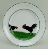 LLANELLY POTTERY COCKEREL & HEN PLATE with green inner and outer border, Llanelly marked base, 24cms