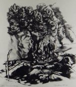 JOHN ROBERTS lithograph - two figures, titled in margin 'Olive Tree and Rocks', signed and dated