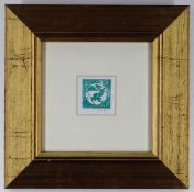 PAUL PETER PIECH miniature screenprint - motif of rampant dragon holding a banner with 'Cymru',