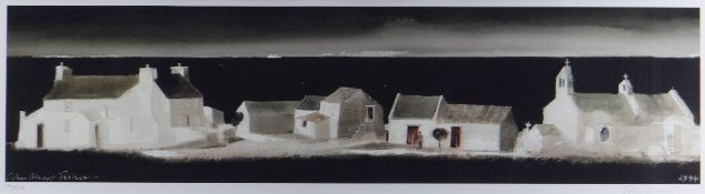 JOHN KNAPP-FISHER limited edition (220/275) print - Pembrokeshire village of whitewashed houses,
