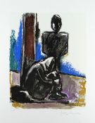 JOSEF HERMAN OBE RA limited edition (48/150) lithograph - two figures, signed, 61 x 52cms