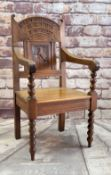 EISTEDDFOD CHAIR 1908 with carved panel of mountain goat, inscribed Eisteddfod Rhiw 1908 (with
