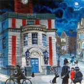 NICK HOLLY limited edition (2/50) print - figures outside the Old Swansea Central Police Station,