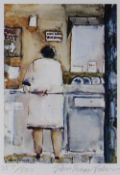 JOHN KNAPP-FISHER limited edition (357/500) print - figure in a cafe kitchen, signed, 22 x 17cms
