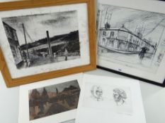 GEORGE CHAPMAN four prints - including linocut of graveyard, engraving of two head portraits, copy