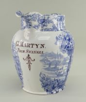 A BLUE & WHITE SWANSEA POTTERY DOCUMENTARY JUG IN THE ORIENTAL BASKET TRANSFER of baluster form,