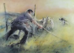 WILLIAM SELWYN artist proof colour print - farmer and dog gathering sheep, signed in full, 32 x