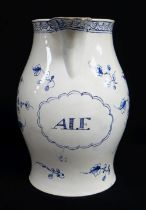 A SWANSEA POTTERY BALUSTER 'ALE' JUG circa 1790-1810, with loop handle, underglazed blue