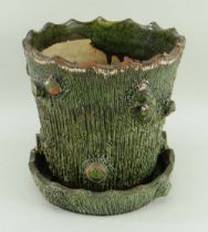 EWENNY POTTERY 'RUSTIC' PLANT POT & STAND with naturalistic bark-textured decoration formed by a