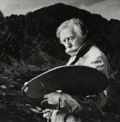 NICHOLAS SINCLAIR black and white photograph - Sir Kyffin Williams RA at work in overcoat with