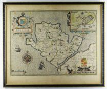 JOHN SPEED 1611 coloured map of 'Anglesey. Anciently called Mona', with inset of Beaumaris,