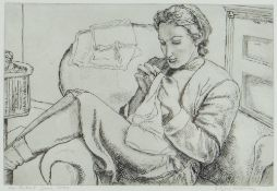 EDGAR HOLLOWAY etching - portrait, titled top right 'DMH Sewing at the Sychtre, 1943', signed in