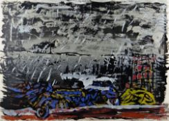 TERRY SETCH limited edition (8/75) screenprint - abstract, titled in pencil 'Beach Car Wreck',