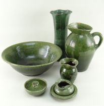 GREEN GLAZED EWENNY POTTERY including part toilet set and tall vase, 36cms high Provenance: