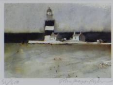 JOHN KNAPP-FISHER limited edition (51/500) print - lighthouse and buildings, signed, 12 x 15cms