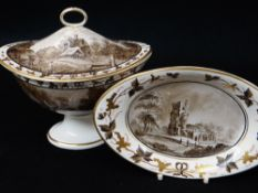 A SWANSEA POTTERY SAUCE TUREEN & COVER WITH STAND of gondola form having a loop handle, painted in