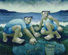MURIEL DELAHAYE limited edition (32/275) colour print - 'The Prawn Catcher', signed in pencil, 37