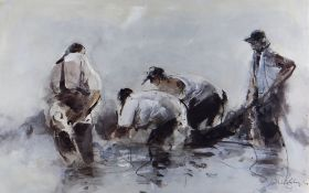 WILLIAM SELWYN artist proof colour print - four fisherman drawing in their nets, signed in full,