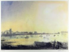 WILLIAM SELWYN coloured limited edition (36/100) print - Beaumaris with numerous boats, signed in