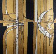 TREVOR BATES screen print on cotton - abstract, entitled 'Henge', 1960, 76 x 81cms Provenance: