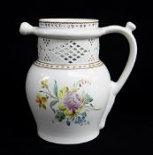 A SWANSEA CAMBRIAN PUZZLE JUG circa 1800 baluster form, loop handle, with cylindrical neck pierced
