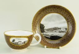 A RARE SWANSEA PEARLWARE CABARET TEA CUP & SAUCER PAINTED WITH SCENES BY WILLIAM WESTON YOUNG, circa
