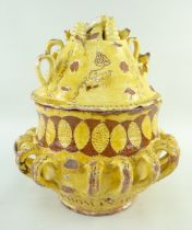 AN IMPORTANT EWENNY POTTERY SLIPWARE WASSAIL BOWL & COVER, DATED 1823 glazed in yellow over red with