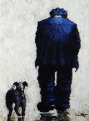 STEPHEN JOHN OWEN limited edition (4/50) print - figure walking with dog, signed, 33 x 24cms