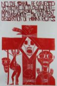 PAUL PETER PIECH two colour lithograph - three figures and typography 'No one shall be subjected