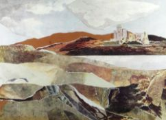 GLYN GRIFFITHS collage - entitled verso 'Estuary Castle' and dated 1973, signed, 45 x 62cms