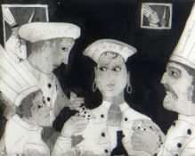 BEN PRITCHARD limited edition (4/30) aquatint etching - chefs playing cards, title to margin '