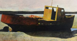 GARETH DAVIES watercolour - beached boat with rusted hull, signed and dated 2002, 37 x 70cms