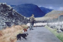 KEITH BOWEN limited edition (136/200) print - scene of farmer and his two dogs and flock of sheep,