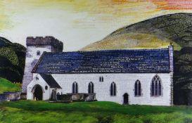 OGWYN DAVIES limited edition (16/25) colour print - historic Vale of Glamorgan village church St
